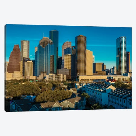 Cityscape Illuminated At Sunset, Houston, Texas Canvas Print #PIM15891} by Panoramic Images Canvas Art Print