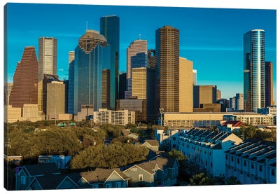 Cityscape Illuminated At Sunset, Houston, Texas Canvas Art Print