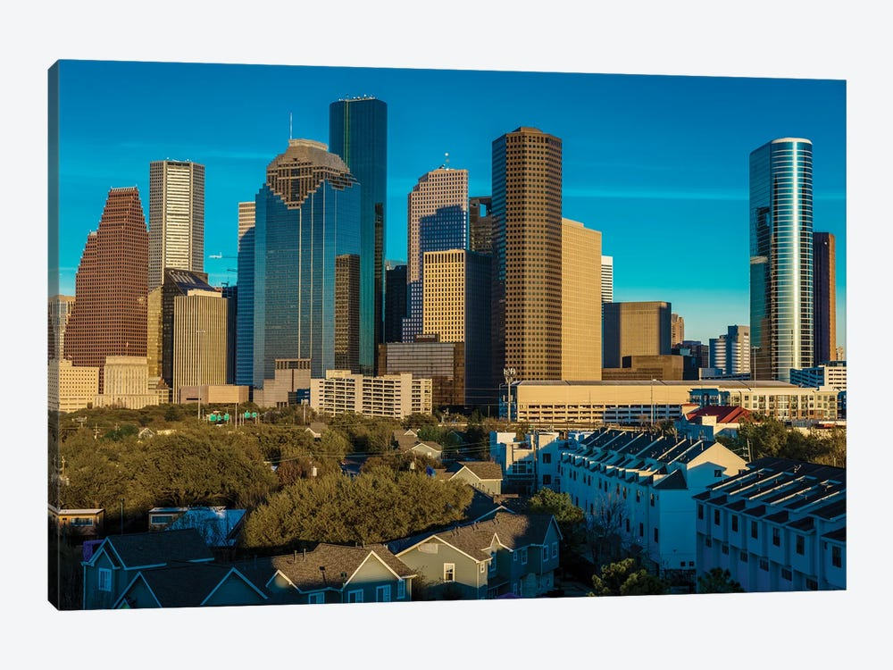 Cityscape Illuminated At Sunset, Houston, Texas by Panoramic Images 1-piece Art Print