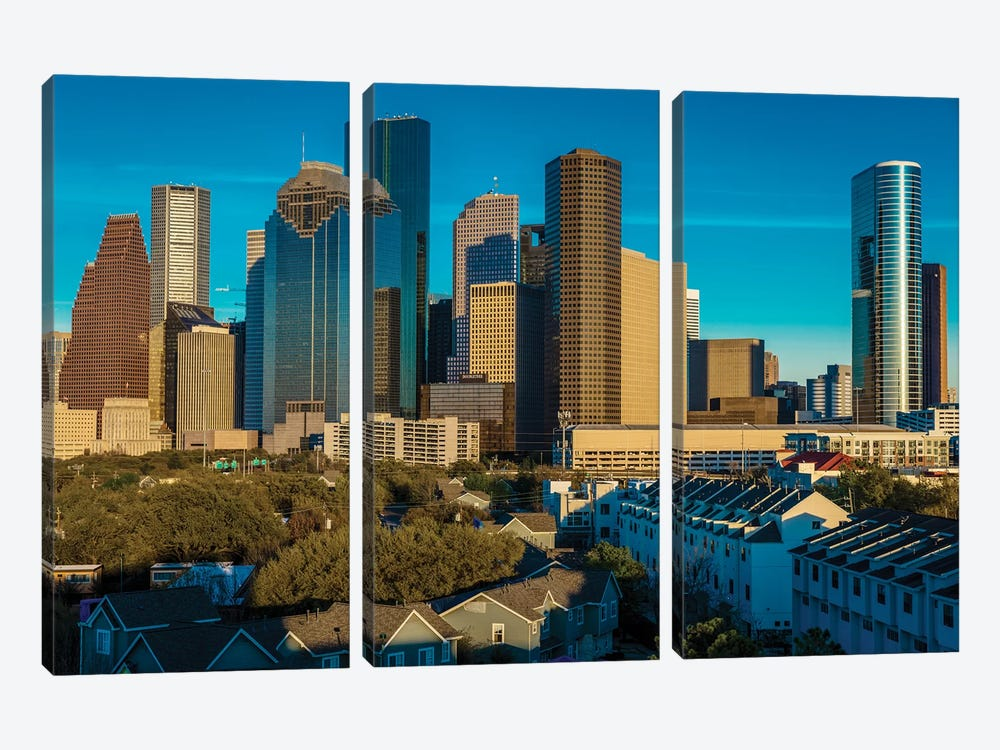 Cityscape Illuminated At Sunset, Houston, Texas by Panoramic Images 3-piece Canvas Art Print