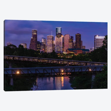 Elevated Walkway Over Buffalo Bayou At Night With Downtown Skyline In Background, Houston, Texas, USA Canvas Print #PIM15892} by Panoramic Images Art Print