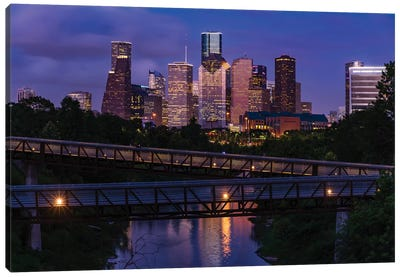 Elevated Walkway Over Buffalo Bayou At Night With Downtown Skyline In Background, Houston, Texas, USA Canvas Art Print