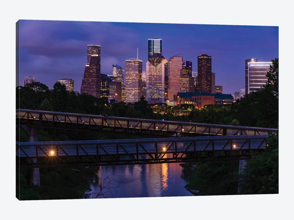 Elevated Walkway Over Buffalo Bayou At Night With Downtown Skyline In Background, Houston, Texas, USA by Panoramic Images 1-piece Canvas Wall Art