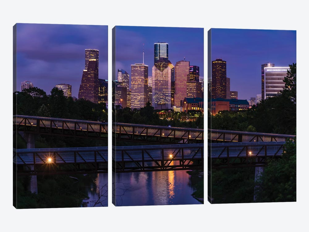 Elevated Walkway Over Buffalo Bayou At Night With Downtown Skyline In Background, Houston, Texas, USA by Panoramic Images 3-piece Canvas Wall Art