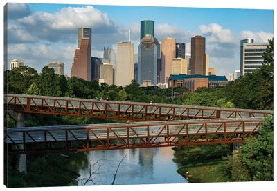 Elevated Walkway Over Buffalo Bayou With Downtown Skyline In Background, Houston, Texas, USA Canvas Art Print