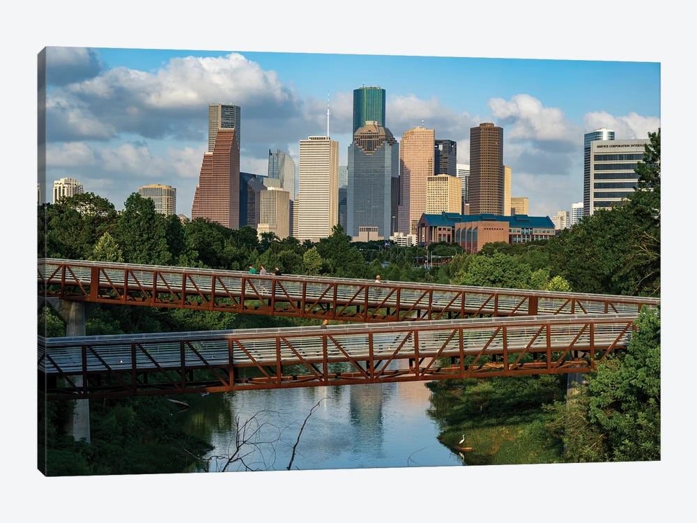 Elevated Walkway Over Buffalo Bayou With Downtown Skyline In Background, Houston, Texas, USA by Panoramic Images 1-piece Canvas Art Print