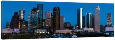High Rise Buildings In Houston Cityscape Illuminated At Sunset, Houston, Texas Canvas Art Print
