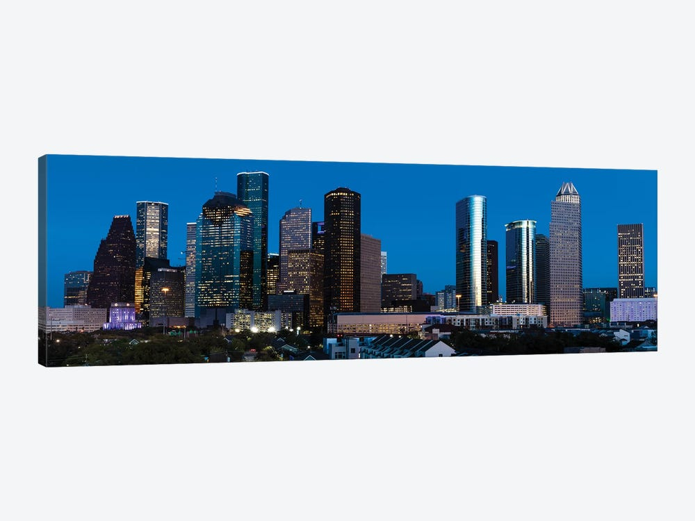High Rise Buildings In Houston Cityscape Illuminated At Sunset, Houston, Texas by Panoramic Images 1-piece Canvas Artwork