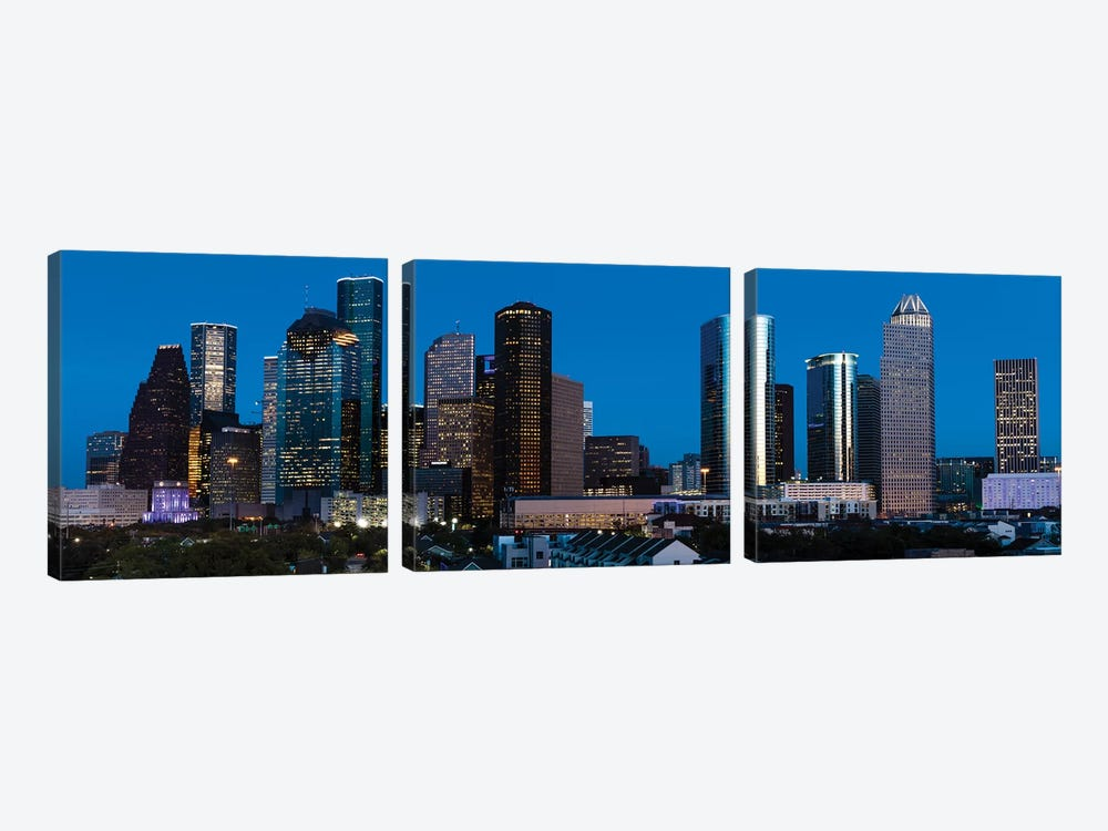 High Rise Buildings In Houston Cityscape Illuminated At Sunset, Houston, Texas by Panoramic Images 3-piece Canvas Art