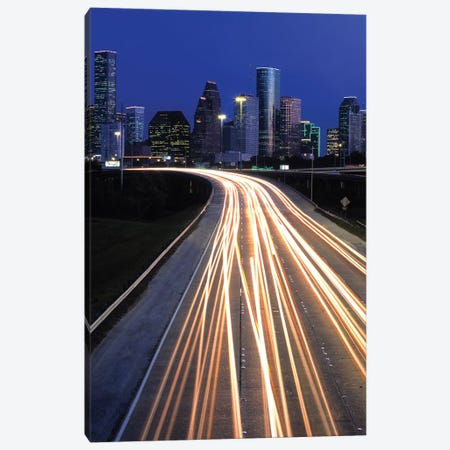Light Trails On Road, Houston, Texas, USA Canvas Print #PIM15895} by Panoramic Images Canvas Artwork