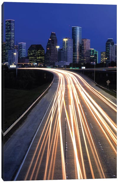 Light Trails On Road, Houston, Texas, USA Canvas Art Print