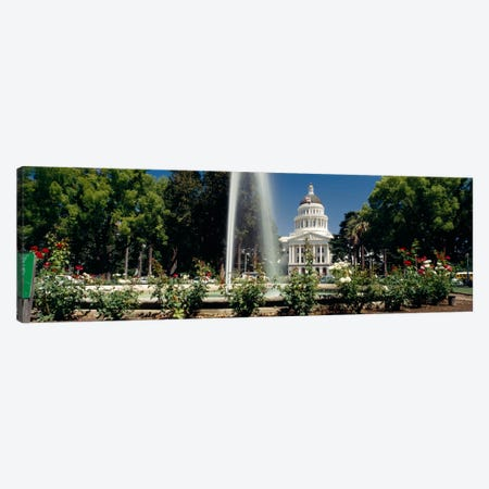 Fountain in a garden in front of a state capitol building, Sacramento, California, USA Canvas Print #PIM158} by Panoramic Images Canvas Wall Art