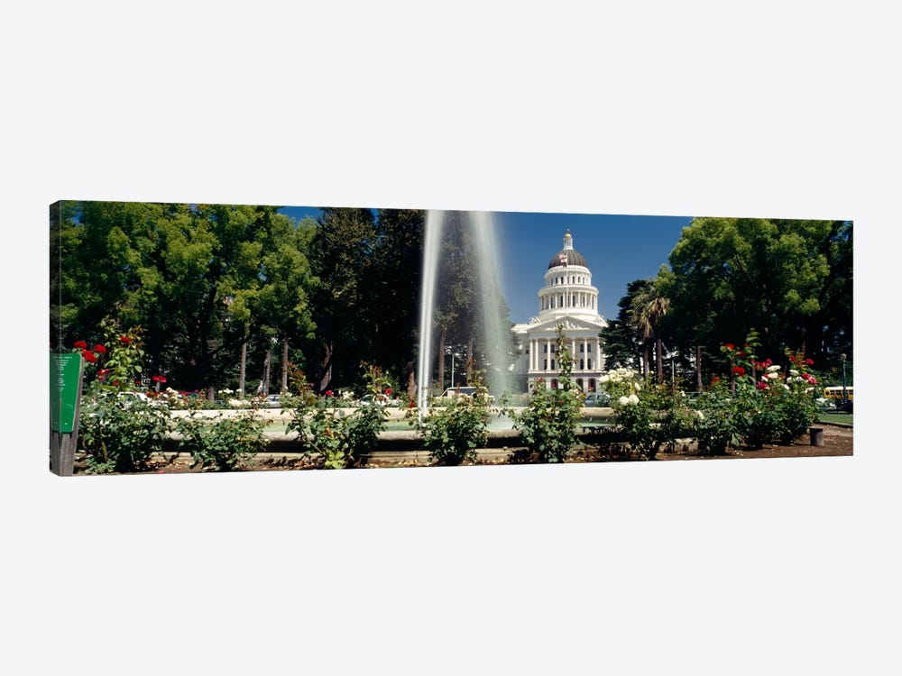 Fountain in a garden in front of a state capitol building, Sacramento, California, USA by Panoramic Images 1-piece Canvas Artwork