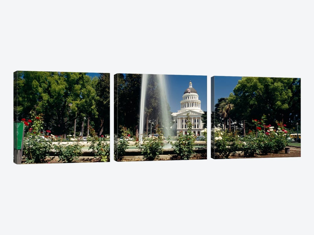 Fountain in a garden in front of a state capitol building, Sacramento, California, USA by Panoramic Images 3-piece Canvas Art