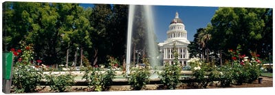Fountain in a garden in front of a state capitol building, Sacramento, California, USA Canvas Art Print