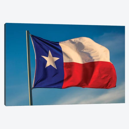 "Texas ""Lone Star"" Flag Stands Out Against A Cloudless Blue Sky, Houston, Texas Canvas Print #PIM15900} by Panoramic Images Canvas Print"