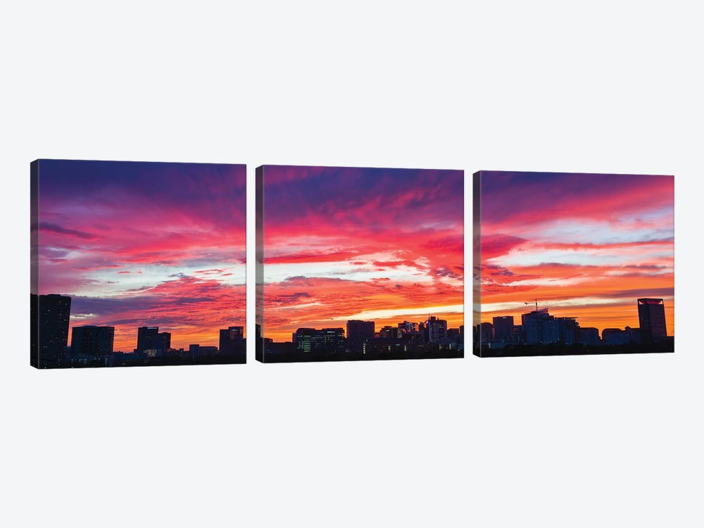 View Of Sunset Looking Towards Medical Center And Rice University, Houston, Texas, USA by Panoramic Images 3-piece Canvas Artwork