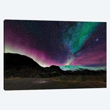 Aurora Borealis And The Milky Way Over Hoffellsjokull Glacier, Iceland Canvas Print #PIM15913} by Panoramic Images Canvas Art