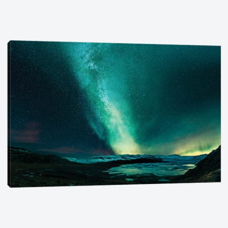 Aurora Borealis And The Milky Way, Hoffellsjokull Glacier, Iceland Canvas Print #PIM15914} by Panoramic Images Canvas Art Print