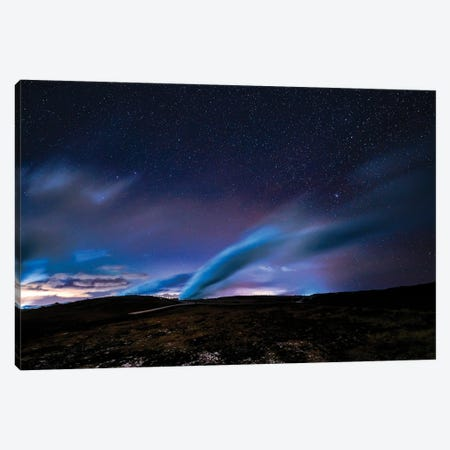 Aurora Borealis, Gunnuhver Hot Spring, Hitaveita Sudurnesja Geothermal Power Plant, Iceland Canvas Print #PIM15915} by Panoramic Images Art Print
