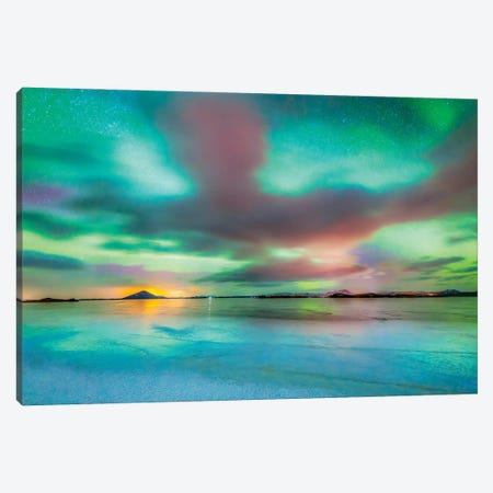 Aurora Borealis, Lake Myvatn, Iceland Canvas Print #PIM15916} by Panoramic Images Canvas Art Print