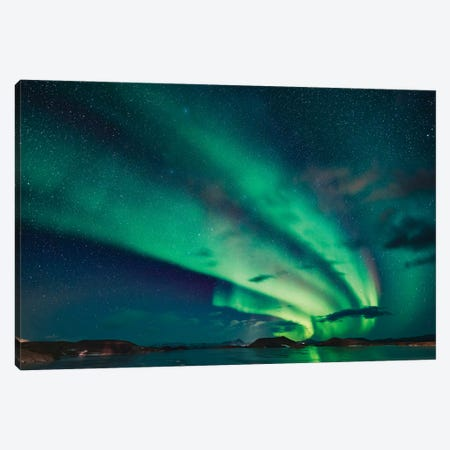 Aurora Borealis, Lake Myvatn, Iceland Canvas Print #PIM15917} by Panoramic Images Canvas Art Print