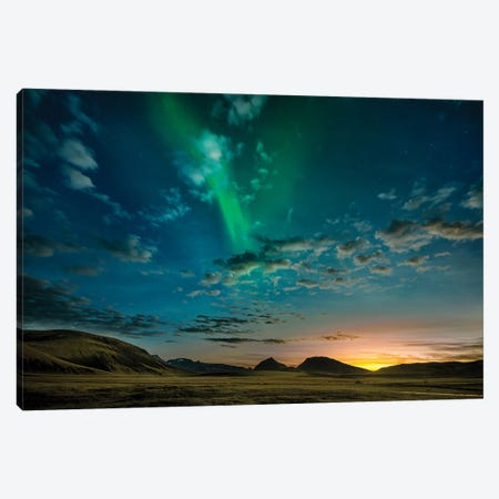 Aurora Borealis, Mt.Hekla, Iceland Canvas Print #PIM15918} by Panoramic Images Canvas Artwork