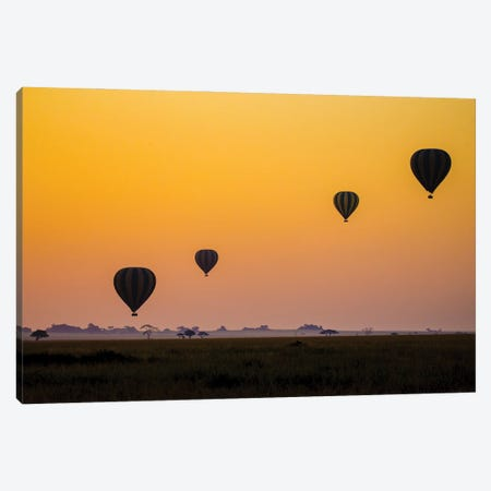 Balloons Flying Over Serengeti National Park, Tanzania, Africa 3-Piece Canvas #PIM15921} by Panoramic Images Canvas Art Print