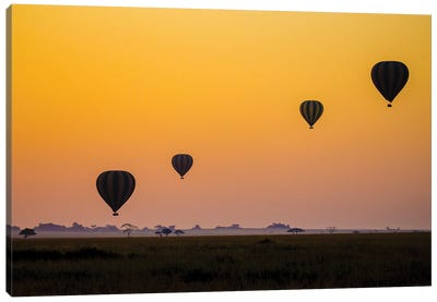 Balloons Flying Over Serengeti National Park, Tanzania, Africa Canvas Art Print