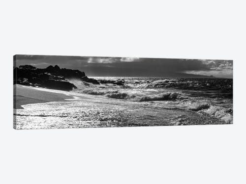 Black And White Landscape With Beach And Waves In Sea Maui H Icanvas