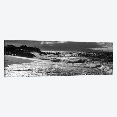 Black And White Landscape With Beach And Waves In Sea, Maui, Hawaii Islands, USA Canvas Print #PIM15924} by Panoramic Images Canvas Artwork