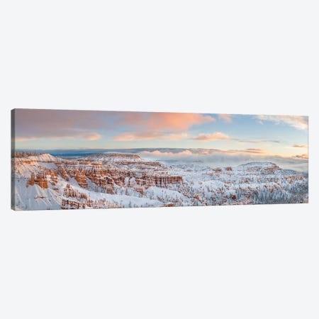 Bryce Canyon National Park With Rock Formations Covered In Snow In Winter, Utah, USA 3-Piece Canvas #PIM15930} by Panoramic Images Canvas Wall Art