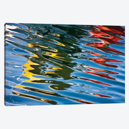 Colorful Reflections In The Water, Akureyri Harbor, Iceland 3-Piece Canvas #PIM15941} by Panoramic Images Canvas Art Print