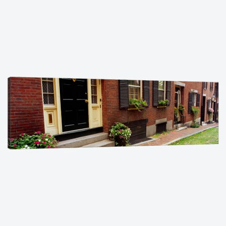 Potted plants outside a house, Acorn Street, Beacon Hill, Boston, Massachusetts, USA Canvas Print #PIM1594} by Panoramic Images Canvas Art