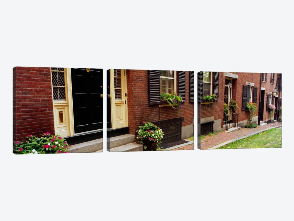 Potted plants outside a house, Acorn Street, Beacon Hill, Boston, Massachusetts, USA by Panoramic Images 3-piece Canvas Art Print