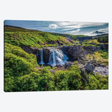 Fossa Waterfalls, Hvalfjordur, Iceland. Canvas Print #PIM15951} by Panoramic Images Canvas Wall Art