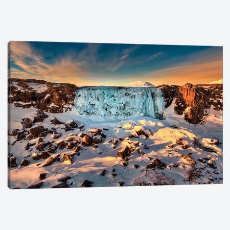 Frozen Oxararfoss Waterfall, Thingvellir National Park, Iceland Canvas Print #PIM15953} by Panoramic Images Canvas Wall Art