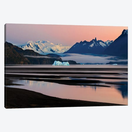Grey Glacier And Grey Lake At Sunset, Torres Del Paine National Park, Chile Canvas Print #PIM15959} by Panoramic Images Canvas Artwork