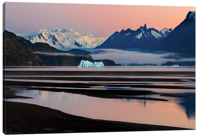 Grey Glacier And Grey Lake At Sunset, Torres Del Paine National Park, Chile Canvas Art Print