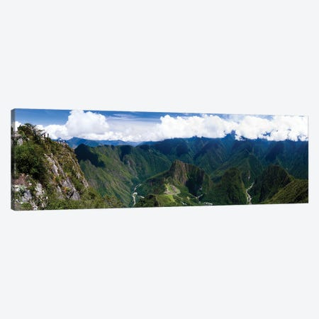 Incan Ruins Of Machu Picchu And Huayna Picchu Peak, Aguas Calientes, Peru, South America Canvas Print #PIM15965} by Panoramic Images Canvas Artwork