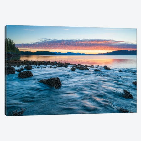 Landscape With Coastline Under Moody Sky At Sunset, British Columbia, Canada Canvas Print #PIM15970} by Panoramic Images Canvas Wall Art