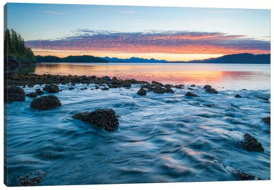 Landscape With Coastline Under Moody Sky At Sunset, British Columbia, Canada Canvas Art Print