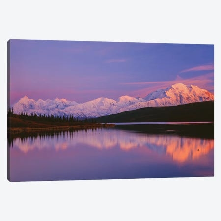 Landscape With Lake And Snowcapped Denali Mountain At Sunset, Denali National Park, Alaska, USA Canvas Print #PIM15972} by Panoramic Images Canvas Art
