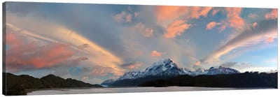 Landscape With Lake Grey And Mountains At Sunset, Patagonia, Chile Canvas Art Print