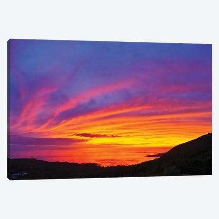 Landscape With Moody Sky At Sunset Above Kealakekua Bay, South Kona, Hawaii Islands, USA Canvas Print #PIM15976} by Panoramic Images Canvas Print