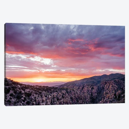 Landscape With Mountains At Sunset, Sugarloaf Mountain, Chiricahua National Monument, Arizona, USA Canvas Print #PIM15977} by Panoramic Images Art Print