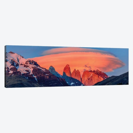 Landscape With Mountains At Sunset, Torres Del Paine National Park, Chile Canvas Print #PIM15978} by Panoramic Images Canvas Wall Art