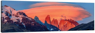 Landscape With Mountains At Sunset, Torres Del Paine National Park, Chile Canvas Art Print
