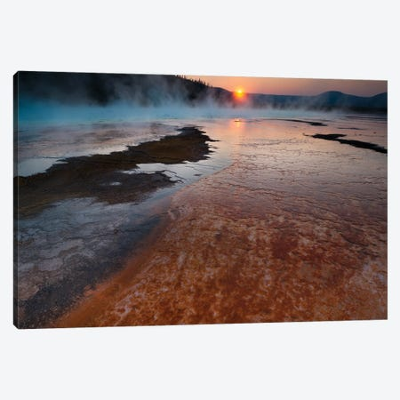 Landscape With View Of Grand Prismatic Spring At Sunrise, Yellowstone National Park, Wyoming, USA Canvas Print #PIM15984} by Panoramic Images Canvas Wall Art