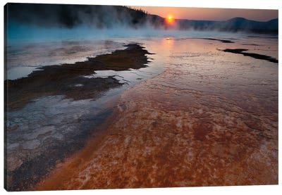 Landscape With View Of Grand Prismatic Spring At Sunrise, Yellowstone National Park, Wyoming, USA Canvas Art Print